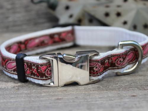 Pink and Chocolate Boho Dog Collar - by Diva-Dog.com