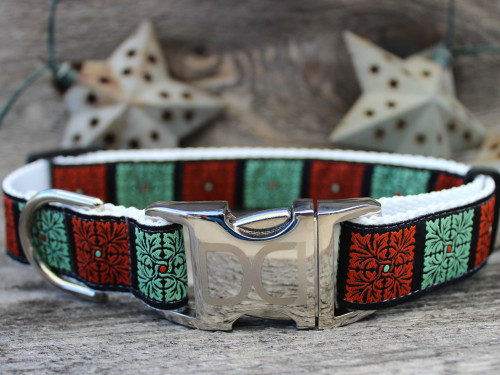 Savannah Squares Linden and Rust dog Collar - by Diva-Dog.com