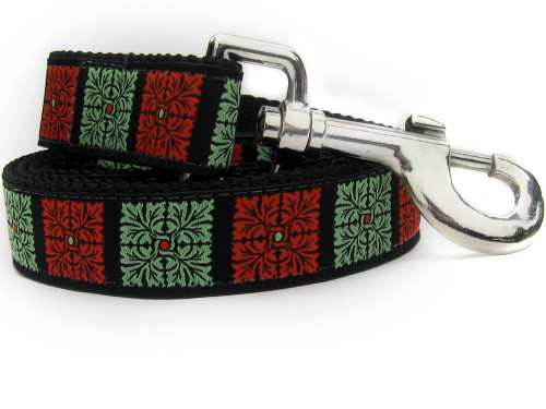 Savannah Squares Linden and Sage dog Leash - by Diva-Dog.com