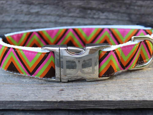 Mod Pink dog Collar - by Diva-Dog.com