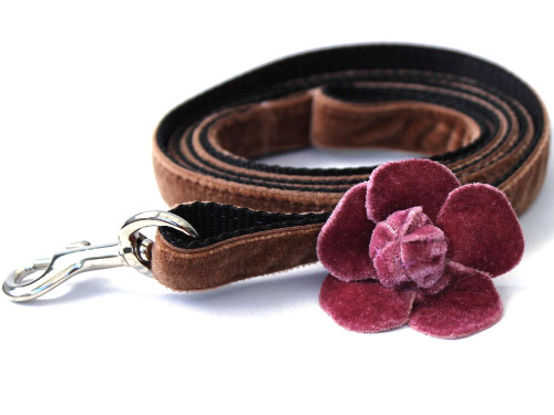 Camellia Dusty Rose Dog Leash - by Diva-Dog.com