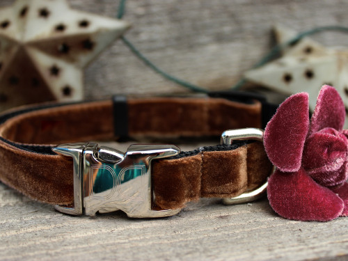 Camellia Dusty Rose Dog Collar - by Diva-Dog.com