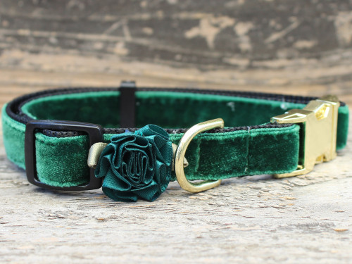 Mistletoe pine green collar by www.diva-dog.com