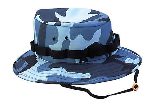 BLUE CAMO WIDE BRIM HAT