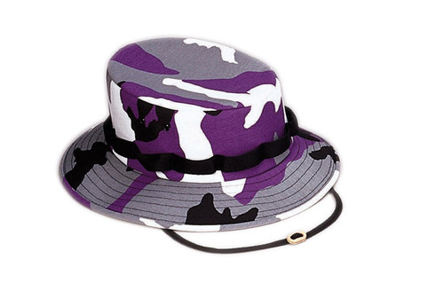 PURPLE CAMO WIDE BRIM HAT
