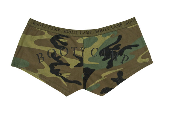 "90% Cotton 10% Spandex  Ready combat underwear, ""Booty Camp"" is print on the elastic waistband, with ""Booty Camp"" printed on back"
