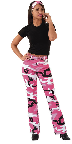 PINK CAMO STRETCH FLARE PANTS
