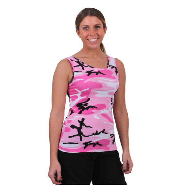 PINK CAMO STRETCH TANK TOP