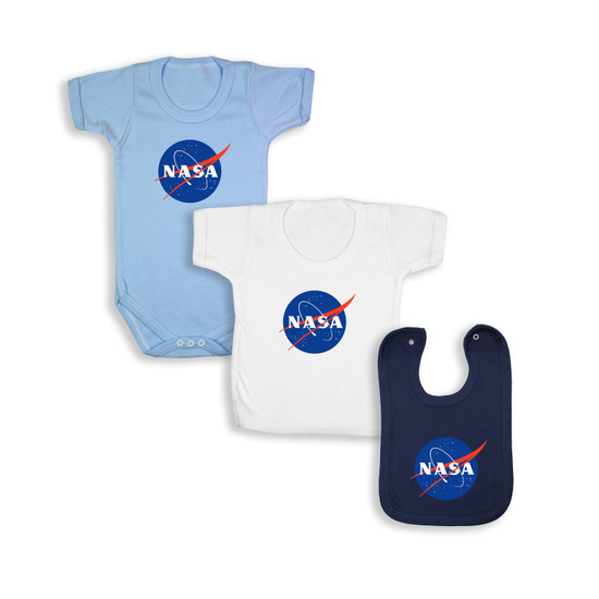 NASA White Babywear Bundle - Blue Short Sleeve Bodysuit/ White T-Shirt /Navy Bib