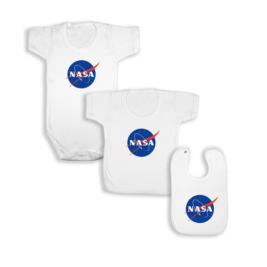 NASA White Babywear Bundle - White Short Sleeve Bodysuit / T-Shirt / Bib