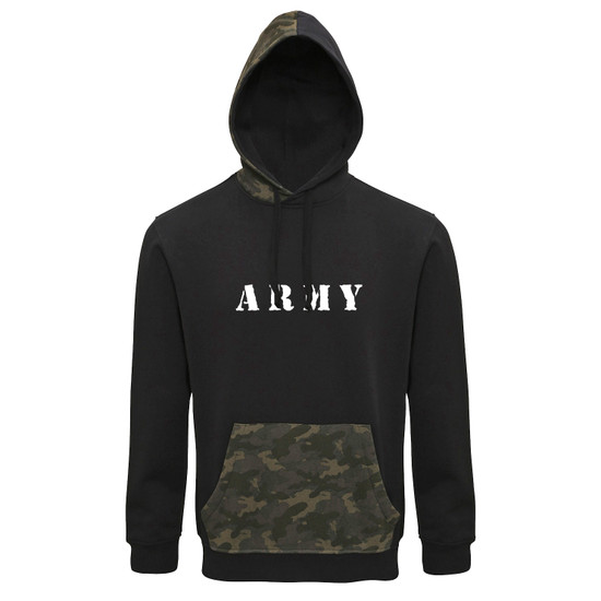 Army Camo Trimmed Hoodie