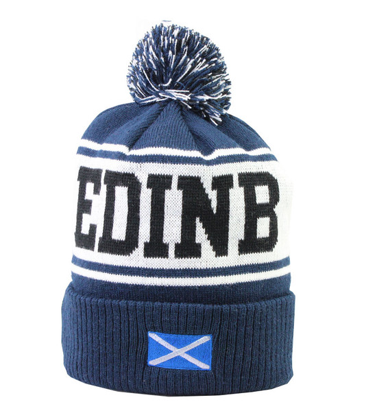 Edinburgh Pom Pom Ski Hat - Navy