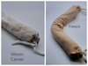Long snake sleeves come in an organic woven or an organic thick fleece. Both are washable.  Both are dye free.