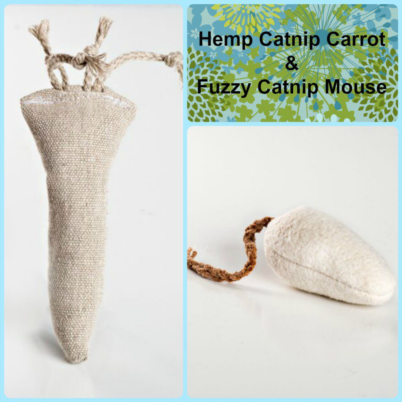 Small gift bag for cats. Includes hemp catnip carrot and medium fuzzy catnip mouse.