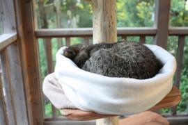 Small Natural Sleeping Bag for CATS. Cozy, Washable, and Reversible. Organic Cotton Snuggle Sack. Plastic Free/ Dye Free Cat Sleep Sack.