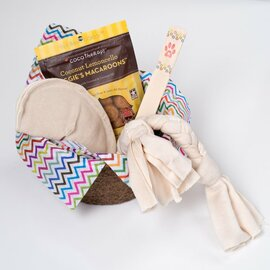Gift basket for dogs.  Organic dog toys, made in the USA. Natural hemp canvas and  Certified Organic Cotton.  Eco Friendly gift