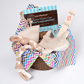 Gift basket for small dogs.  Organic dog toys, made in the USA using natural hemp canvas and certified organic cotton.  Plastic and dye free.