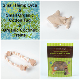 Gift bag for Dogs. Natural Hemp dog toy, organic cotton tug,  and gluten free natural dog treats. Made in the USA.  Handmade gift bag and tag.  Purrfectplay.com