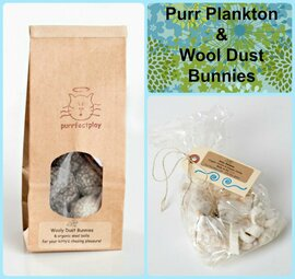 Gift Bag for Cats: Our Purr Plankton, organic cotton and catnip toys + Felted natural wool cat balls. Plastic free eco cat toys. Made in the USA