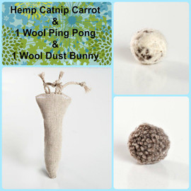 Gift Box for Cats: Our Hemp Catnip Carrot, a hemp and catnip toy + Felted natural wool cat balls. Plastic free eco cat toys.