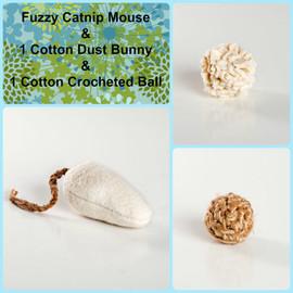 Eco Friendly Gift Box of Organic Catnip Toys: A Soft Organic Catnip Mouse + 2 Unique Organic Cotton Cat Balls. USA made cat toys.