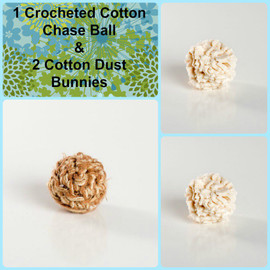 Sweet little gift for kitties.  Organic cotton chase balls.  Plastic and dye free cat balls. Made in the USA.