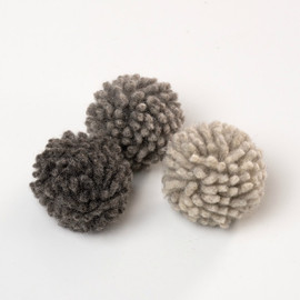 BIG Organic Wool Dust Bunny cat toy.  Made in the USA from pasture raised natural wool. Each bag has three big bunnies in a variety of natural (dye free) shades.