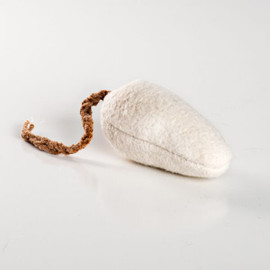 Fluffy white organic cotton toy. Natural cat toy made in USA.  Vegan cat toy. Catnip Free cat toy!