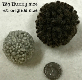 BIG Organic Wool Dust Bunny cat toy.  Made in the USA from pasture raised natural wool. This image compares our  BIG bunny to the original size.