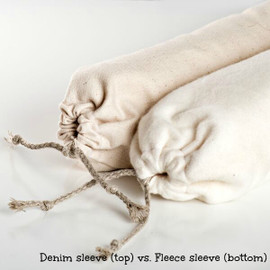 Chubby snake sleeves come in an organic denim or an organic thick fleece. Both are washable.