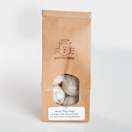 Felted Wool Ping Pongs-- natural cat toys.  Wool cat balls. Made in the USA.