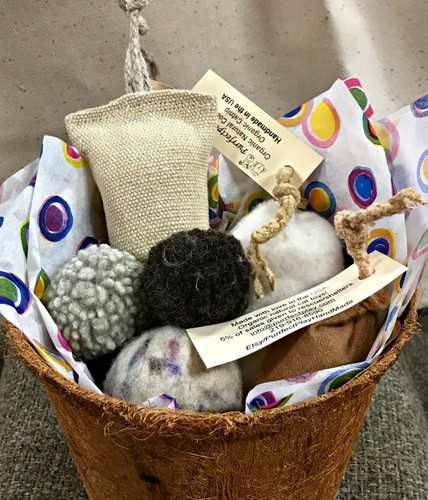 Organic Natural Cat Toys- A Gift Basket for a special kitty! Contains felted wool balls & organic catnip cat toys. Plastic and dye free. With natural wool  bunnies
