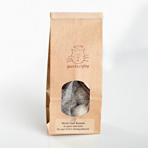 Natural Wool Dust Bunny cat toy.  Made in the USA from pasture raised wool.  Small bouncy cat ball toy.  Dye free