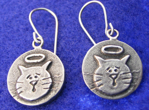Cat with Halo earrings.  Lead free pewter. Handmade in the USA.