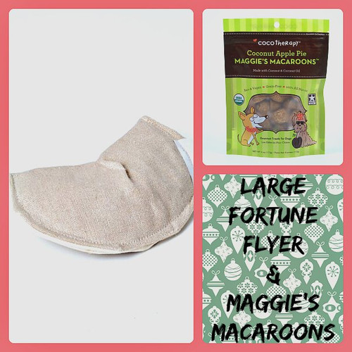 Holiday gift bag for Dogs.  Hemp dog toy and gluten free natural dog treats. Made in the USA. Purrfectplay.com