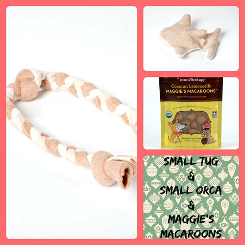 Holiday gift bag for small dogs.  Small organic cotton tug, small hemp orca, and gluten free treats.  Handmade in the USA.  Purrfectplay.com