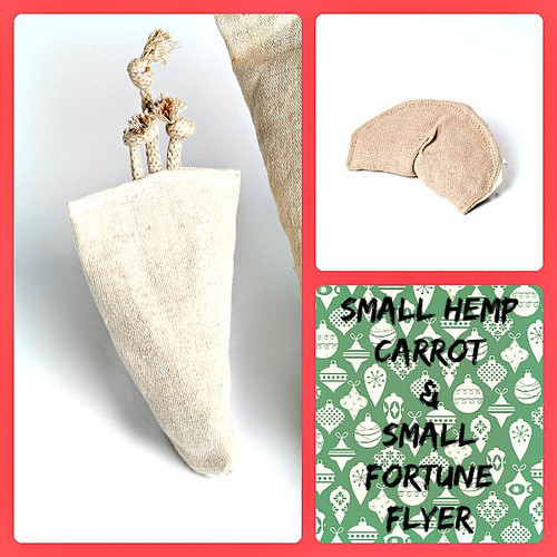 Holiday gift bag for small dogs. Natural organic hemp dog toys. Made in the USA.  Purrfectplay.com