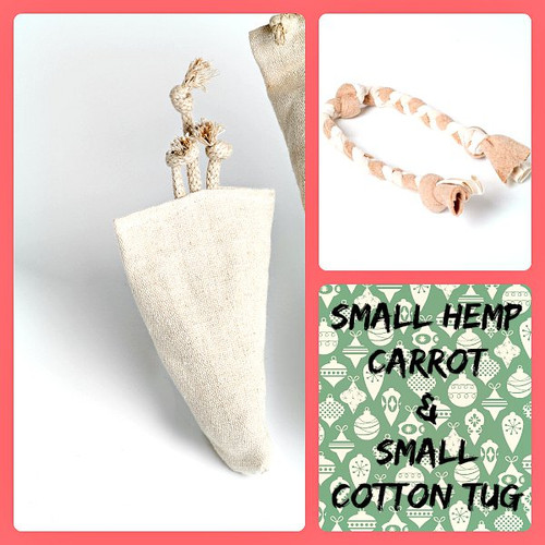 Holiday gift bag for small dogs. Natural organic hemp dog toy and organic cotton tug toy. Made in the USA.  Purrfectplay.com