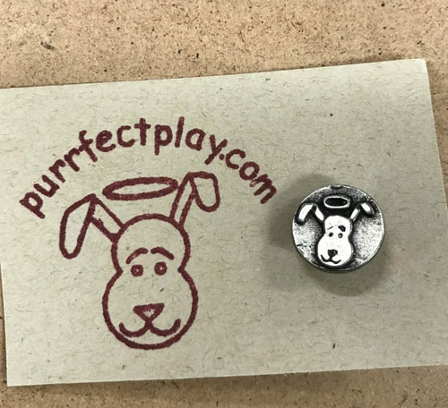 Dog Angel pin.  Lead free pewter. Handmade in Chicago.  Tie tack backed pin.