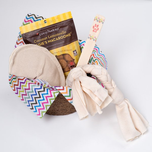 Gift basket for dogs.  Organic dog toys, made in the USA. Natural hemp canvas and  Certified Organic Cotton.  Purrfectplay.com