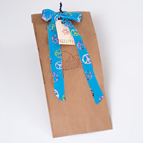 Made · Gift bag for Dogs. Hemp dog toy and gluten free natural dog treats.