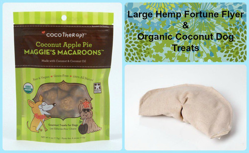 Gift bag for Dogs. Natural Hemp dog toy and gluten free natural dog treats. Made in the USA.  Handmade gift bag and tag.  Purrfectplay.com