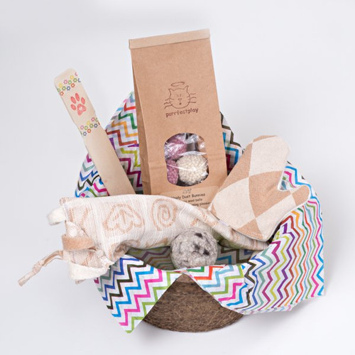 Fun gift basket for cats. Filled with organic and natural cat toys made in the USA.  Feel the love!