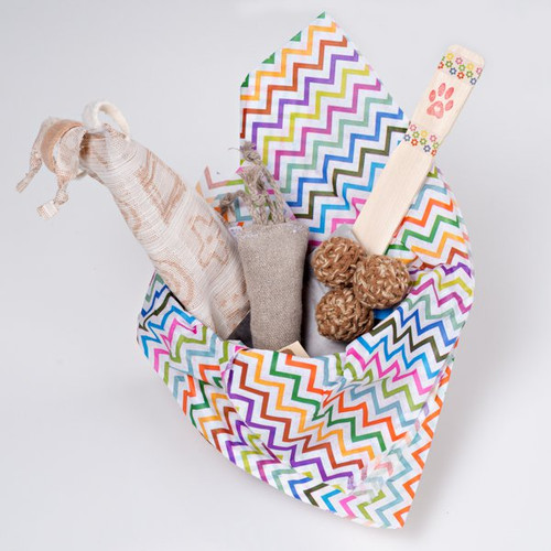 Gift basket for cats. Filled with organic and natural cat toys made in the USA.  Feel the love!  Vegan Friendly!
