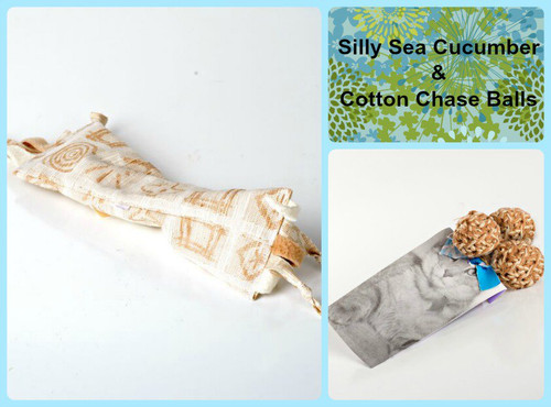 Larger gift bag for cats.  Includes silly organic catnip sea cucumber and organic cotton chase toys.  100% natural cat toys, made in the USA. Vegan friendly.