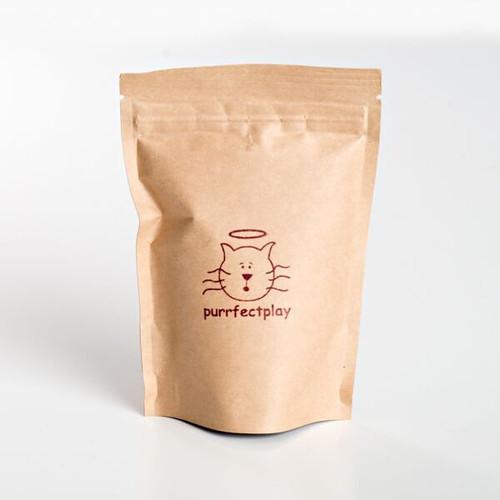 Certified organic catnip in zip lock light free container.  Front of bag. Purrfectplay.com