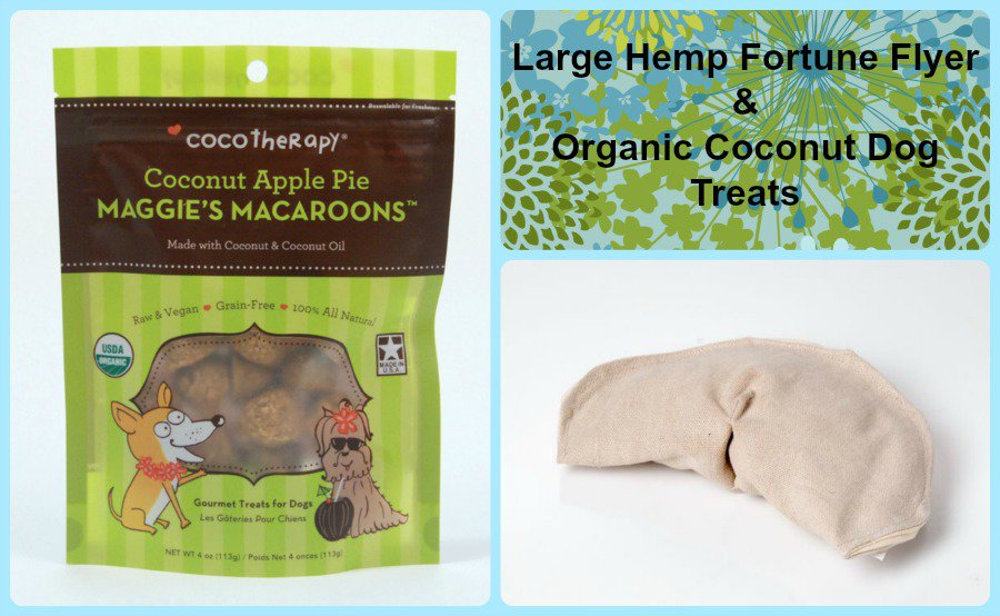 Gift bag for Dogs. Hemp dog toy and gluten free natural dog treats. Made
