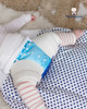 Pastel Blue Leak Protection Nappy Cover & Pink Stripes Legwarmers.