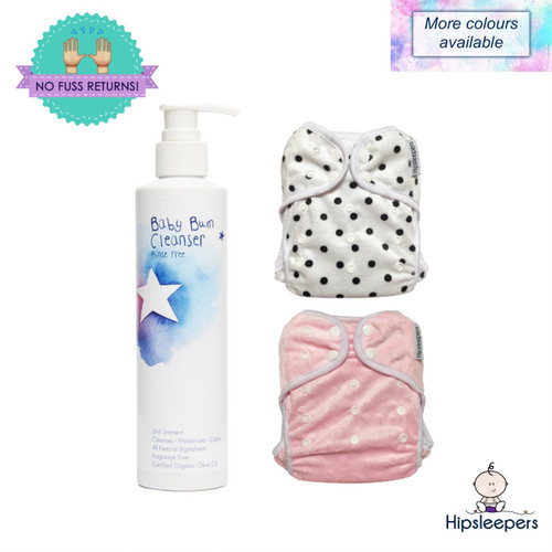 The DDH Baby Bum Package includes Rinse Free Baby Bum Care and 2 x Leak Protection Nappy Covers