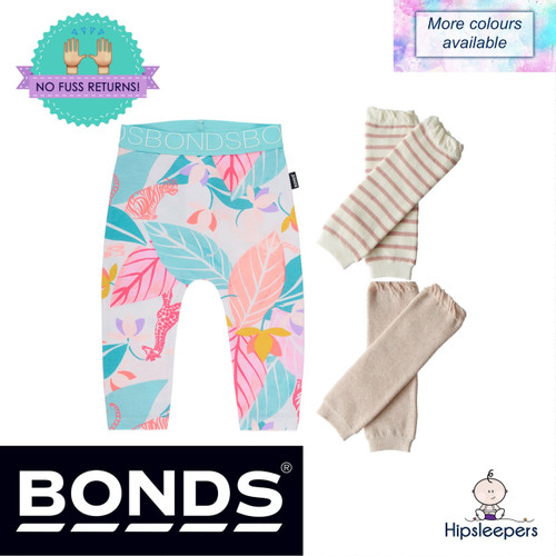The Cozy Legs Package includes a pair of Bonds Stretchies Leggings and two pairs of Legwarmers